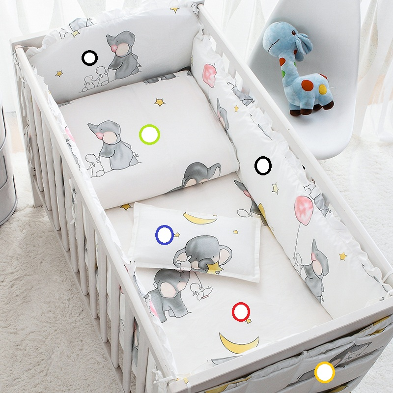Cotton Cartoon Soft Baby Bedding Sets Gray Elephant  Baby Crib bumper Include Pillow/ Bumpers/ Sheet/Quilt Cover Baby Bumpers<br>
