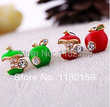 Free Shipping 20Pair 2014 New Fashion Hot-Selling Red Green Apple Stud Earrings Rhinestone Crystal Ear Stud Earrings(China)