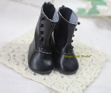 "[DY096]Free Shipping 16"" Disyne Doll Shoes # Black Leather Boots fit for 16 inch girl doll shoes for retail doll accessories"