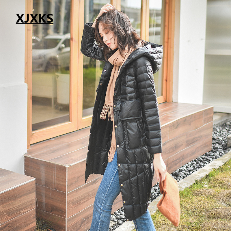 XJXKS manteau femme hiver 2019 new fashion winter coat women high quality hooded brand design comfortable women parkas jacket