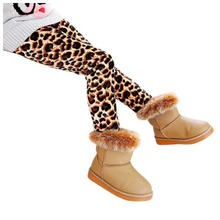 Warm Winter Girls Slim Leggings Thick Elastic Waist Leggings Stretch Comfy Pants, Coffee-Leopard 140cm(China)