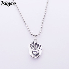 ISINYEE 2017 Fashion Baseball Glove Pendant Long Beads Chain Nekclace For Women Vintage Silver Jewelry Necklaces Jewellery