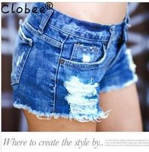 new spring 2017 Formal shorts women denim female shorts solid blue short Jeans hole Style women Sexy summer Jeans Products Y853(China)