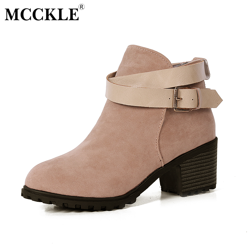 MCCKLE Women High Heels Ankle Boots Female Buckle Slip On Suede Shoes Woman Platform Spring Autumn Casual Shoes Black size 35-39<br>
