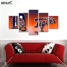 Modern Canvas HD Printed Painting Frame Pictures 5 Panel USA Baseball Sports Team tiger  logo tiger for Room Wall Art Deorat