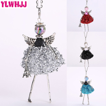 YLWHJJ new cute silver debris doll long chain necklaces for women hot brand wings girls angel pendant metal maxi jewelry fashion