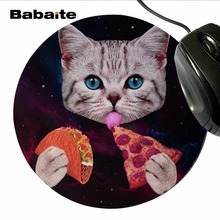 2017 Hot NEW Babaite Genuine Original Pizza Cat Mousepads Anti Slip Rubber Bottom Round Mouse Pad Gamer used for office and home