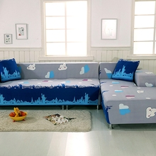Grey And Blue L Shape Sofa Covers For Living Room 100% Polyester Corner Sofa Cover 2pcs Anti-slip Sofa Covers 2pcs Cushion Cover