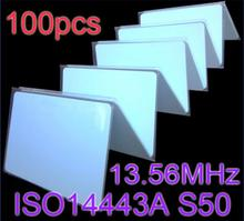 100pcs/Lot 13.56MHz RFID Card NFC Cards ISO14443A MF S50 Re-writable Proximity Smart Card 0.8mm Thin For Access Control