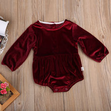 Toddler Newborn Baby Girl Autumn Clothes Baby Girl Dark red Velvet Romper Hot Jumpsuit Girl Outfits 0-3T Baby Girl Clothing