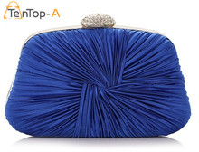 TenTop-A New Women's Drape Satin Royal Blue Evening Bags Bride Pouch Dinner Bags Folded Satin Wrist Clutches With Chain 6 colors(China)