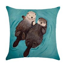 45X45CM Decorative Throw Pillows Case Cute Animals Otter Cotton Linen Cushion Cover For Sofa Home Decor Cojines(China)