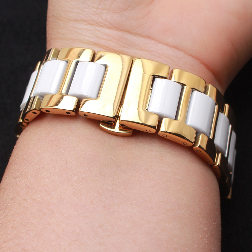 Yellow Gold Stainless steel Watchband white ceramic polished Watch Accessories beautiful for men womens watches 14 16 18 20 22mm<br>