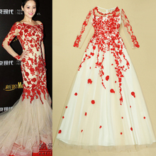 Top Quality New 2015 Spring Fashion Formal Dress Women Sheer Mesh Embroidery 3/4 Sleeve Formal Dress Wedding Party Event