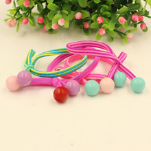 10Pcs Summer style Colorful random headband children Double beads stripe hair accessorie headwear gum hair band wholesale(China)