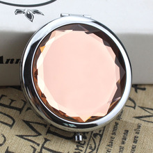 10 ColorsPortable Lady Pocket Crystal Makeup Mirror Round Double Sides Folding Make Up Compact Mirrors(China)