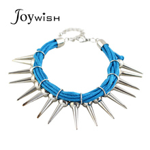 Rivet Bracelets Novel Design Fashionable individule Punk Rock Rope and Charm Spike Bracelets(China)
