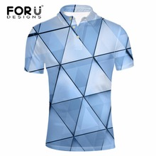 FORUDESIGNS Men Polo Shirt 3D Geometric Pattern Summer Male Short Sleeve Comfortable Polos Novelty Slim Fit Polo Shirts for Men