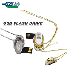 2014 New Fashion USB Flash drive Memory Stick U Disk Pendrive pen drive metal crystal diamon slippers gift 8GB 16GB 32GB 64GB(China)