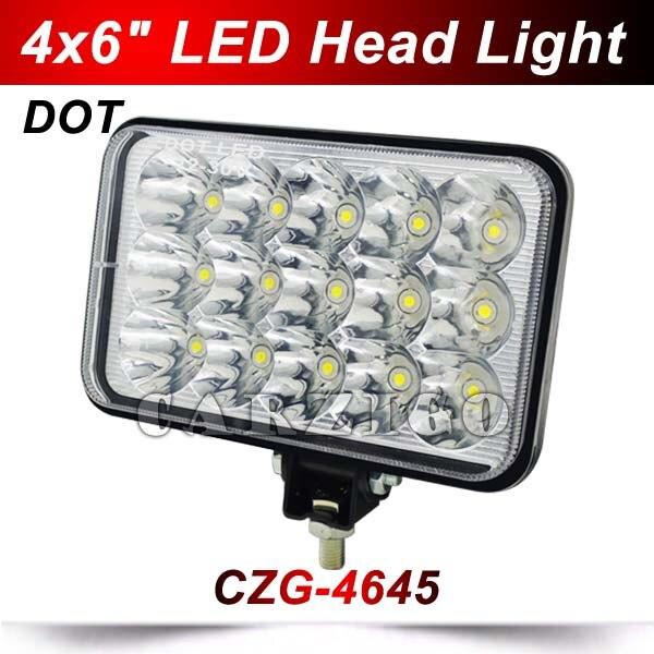 CZG-4645 4*6 45w led headlight with DOT MARK 6X4Inch 45w led head light hi lo beam 5 square led work light for Trailler,Truck<br>