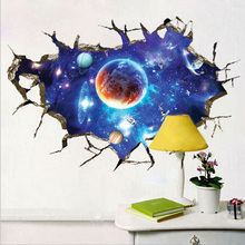 3D Outer Space Planet Wall Stickers PVC Plastic Waterproof and Environment-friendly Beautiful Galaxy Stickers  Living Room Decor