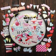 70Pcs Love Color cardboard Die Cuts for Scrapbooking Happy Planner/Card Making/Journaling Project DIY C064(China)