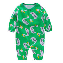 2017 Spring Newborn kids Swan Romper Baby Boys Girls long sleeve Romper Jumpsuit Cotton Clothes Outfit Set