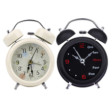 Round Metal Alarm Clock Retro Double Bell Desk Clock Mechanical Table Alarm Clock Light Design Number Classic Alarms Black White