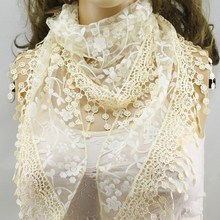 Lace Sheer Metallic Burnt-out Floral Print Triangle Veil Scarf Shawl Wrap Tassel A1124a