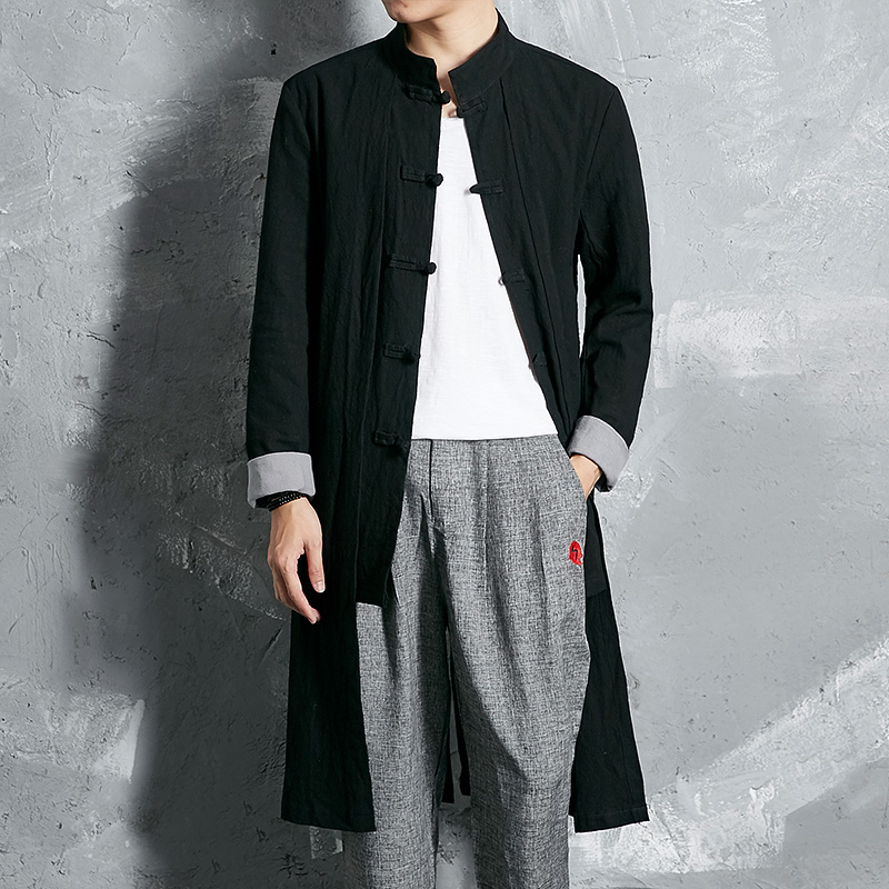 2017 new men trench coat spring autumn china style cotton linen male trench long cardigan shirt fake 2 pieces outwear F228
