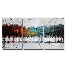 Colorful Forest Abstract Art 100% Hand Painted Contemporary Oil Paintings,Modern Artwork Wall Art for Room Decoration,3 Pcs/Set