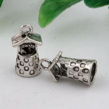 Hot ! 15pcs  Antique Silver Alloy Wishing Well Water Garden Charms DIY Jewelry 9 x 17mm   (nm505)