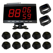 SINGCALL Table Waiter Call Paging System for Customer Service,Pack of 10 Bells and 2 Watch Receivers and 1 Display.