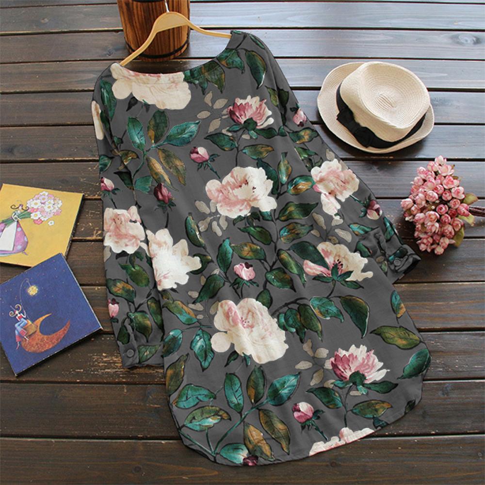 19 New Women Loose Floral Print Dress Ladies Mini Dress Summer Casual Party Dresses Long Sleeve Dress Plus Size 4