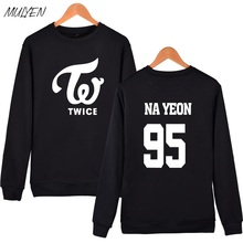 MULYEN TWICE Fashion Sweatershirt Women Harauku Member Name Print Hoodies For Fans Pullover Fleece Hoodie Sudaderas Mujer