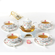 European Style Luxury Bone China Flower Tea Teaset Glass Coffee Pot with Warmer 4 sets Ceramic Coffee Cup Saucer Spoon