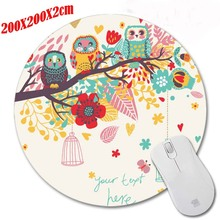 Beautiful flowers and owl DIY Round  Rubber Mousepad Computer Desktop Mice Mat Optical Anti-slip Gaming Mouse Pad 200*200*2CM