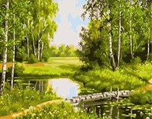 MaHuaf-X774 green nature landscape painting paint by numbers DIY digital Hand-painted canvas oil paintings for home decor(China)