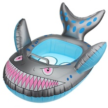 Brand New 1PC Funny Baby Kids Grey Shark Shape Inflatable Swimming Pool Seat Ring Summer Outdoor Fun Toys