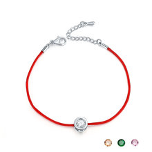 Fashion Thin Red Cord Thread String Rope Chain with CZ Zirconia Silver Color Bracelet 16+5cm Length for Female Red Line Jewelry
