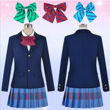 New Japanese Anime Love Live Cosplay Costumes Halloween Party Lovelive School Uniform Jacket+Skirt + Bow Tie(China)