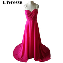 New Arrived Elegant Sweetheart Sleeveless Red Evening Dress Sweep Train Chiffon Appliques A-Line Party Dress