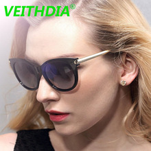 Veithdia Women Original Brand LOGO HD Polarized Driving Sunglasses Fashion Accessories Vintage Glasses Retro Eyewear TR90 7016(China)