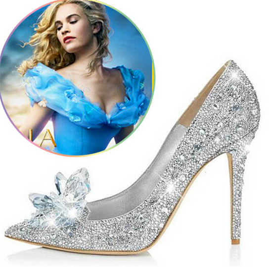 Fashion Cinderella Crystal Shoes Woman Stiletto High Heels Women Pumps Rhinestone Women Wedding Shoes Slipper Zapatos Mujer (13)