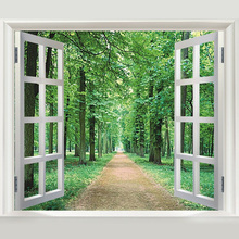Green woods 3D window DIY vinyl wall stickers home decor living room sofa wallpaper muraltree wall decal home decoration
