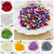 New 4x8mm 200Pcs/Lot Rice Shape Multi-Colors Imitation Pearls Beads Crafts Decoration For DIY Bracelets Necklaces Jewelry Making(China)