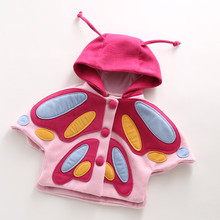 2017 autumn winter girls jacket and coat cartoon butterfly thicken kids outwear cloak wool single-breasted children cape coats