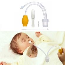 2017 New Aspirador Nasal Aspirator Newborn Baby Safety Vacuum Suction Nose Cleaner + Medical Tweezers Infant Snot Sucke APR12_30