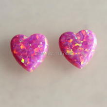50pcs /lot Free Shipping  10mm Synthetic Drilled Rose Pink Heart Cabochon  Opal  for Silver Opal Necklace