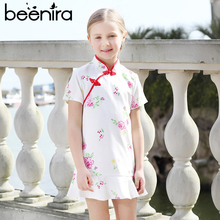 Beenira Girls Dresses 2017 New Brand European And American Style Children Cheongsam Short-Sleeve Princess Dress Design For 4-14Y